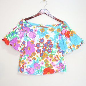 H&M flower hippie blouse with puffy sleeves